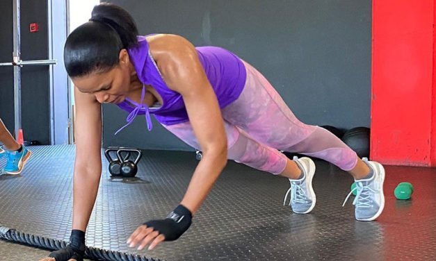 Connie Ferguson shows her biceps and Skii Touch exercise